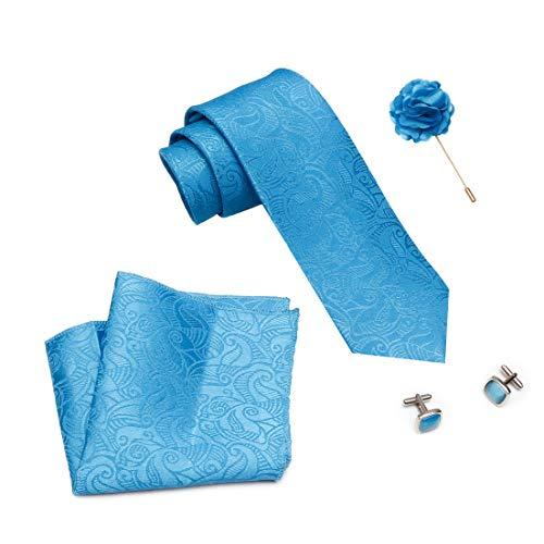 Axlon Men Silk Stain Resistant Neck Tie Accessory Gift Set- Sky Blue(Free Size)