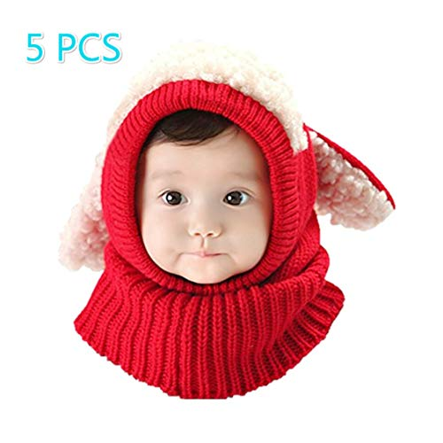 iHomey Baby Girls Boys Toddler Winter Hat Scarf Set Cutest Earflap Hood Warm Knit Hat Scarves With Ears Snow Neck Warmer Cap Christmas Gift For Kids 6-36 Months
