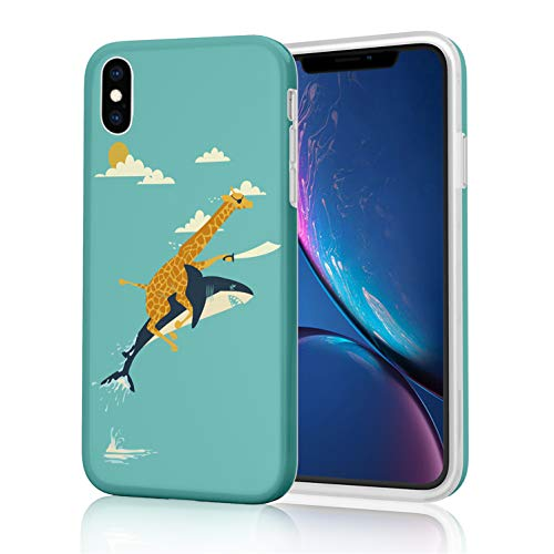 Unique Design Soft Flexible Tpu Phone Case For Iphone Xs Max 2018 6 5 Inch Marvelous Funny Giraffe And Shark