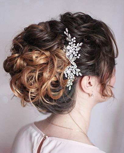 Unicra Braut Hochzeit Haarkamm Silber Kristall Kopfschmuck Braut Perle Haarschmuck für Frauen und Mädchen