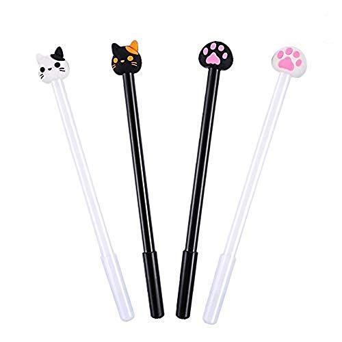 Bolígrafo de gel con diseño de animales, 0,5 mm, color negro, color negro 4cat