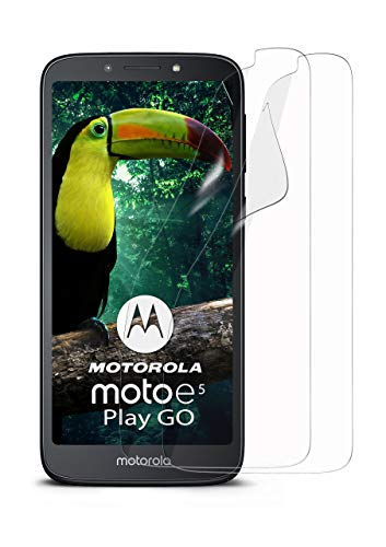 MoEx® Kristallklare HD Schutzfolie kompatibel mit Motorola Moto E5 Play Go | Displayschutzfolie Kratzfest + Fast unsichtbar, Ultra Klar 2X Stück