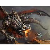 Tapisserie Photo Dragon de conte de fées 352 x 250 cm Laine papier peint Salon...