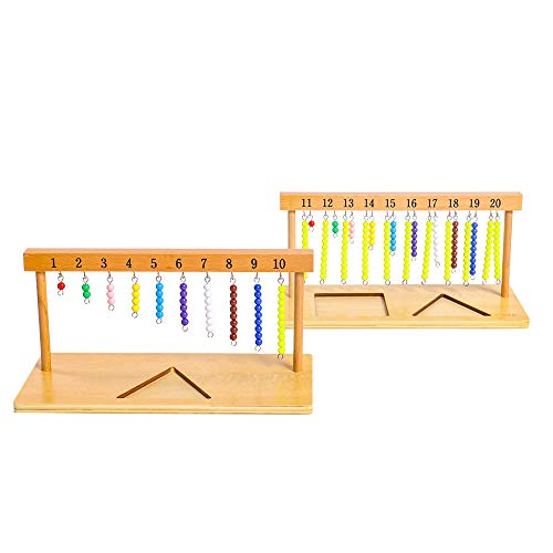 Montessori Math Toys Materials for Toddlers 1-20 Beaded Hanger Color