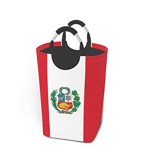NA Cesta de lavandería con Bandera de Perú con Asas, Cesta organizadora Plegable Grande, cesto de lavandería para habitación de niños, Ropa Sucia, Juguetes
