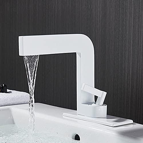 IOMLOP Grifo de la cocina Grifos de lavabo negro mate Minimalismo moderno Grifo de baño de latón Montaje en cubierta Grúa para fregadero Grifo mezclador de agua fría y caliente, Blanco