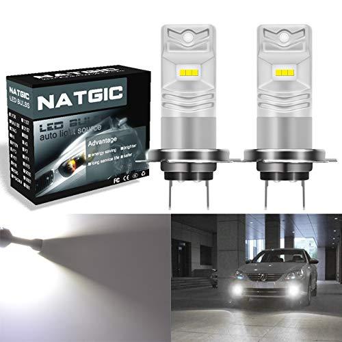 NATGIC H7 Ampoules LED antibrouillard blanches Xenon 1700LM CSP pour projecteur antibrouillard avant, 12V-24V (paquet de 2)