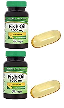 Nature s Measure Fish Oil 1000 MG Support for Joint Support Immune Heart Health Brain Eyes Skin  2 Pack