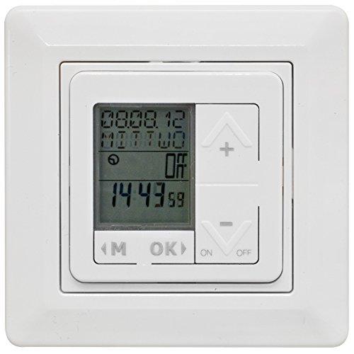 Paladin Komplett-UP-LCD-Zeitschaltuhr, 230V/10A, reinweiß, mit Astro-Funktion
