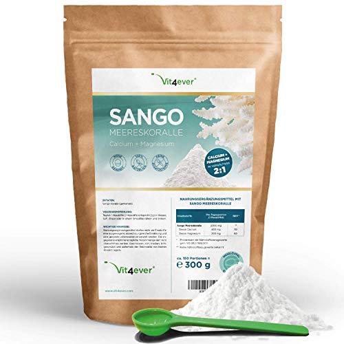 Sango Meereskoralle - 300 g Pulver - Natürliche Quelle für Kalzium (20%) & Magnesium (10%) im körpereigenen Verhältnis von 2:1 - Laborgeprüft - Ohne Zusatzstoffe