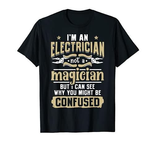 Regalo vintage con texto en inglés 'I'm An Electrician Not A Magician Funny Lineman Camiseta
