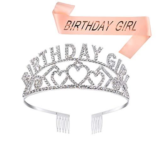 MUCHEN SHOP Geburtstag Mädchen Krone mit Schärpe,weiß Glitter Kristall Dekor Stirnband Tiara Prinzessin Diadem Haar-Zusätze und Champagner Farbe Schärpe