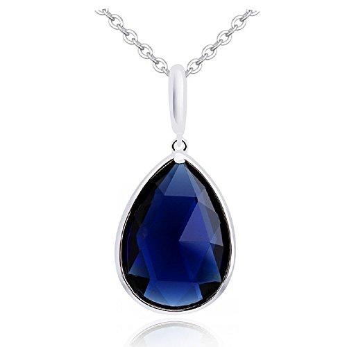 Crystalline Azuria Tropfenform Halskette Anhänger mit Blauer simulierter Saphir Zirkonia Kristalle 18 kt Weiß Vergoldet für Damen 45 cm