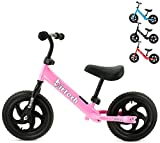 Balance Bike for Boys Girls 12'' Carbon Steel Frame No Pedal Walking Balance Bike Training Bicycle for 2 3 4 5 6 Years Old Kids and Toddlers