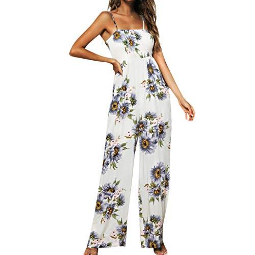 Elegante Kleider Damen Kleid Cocktailkleider Ronamick Frauen Sonnenblumen Dot Print Overall ärmellose Clubwear Wide Bein Hose vor Ort Outfit(L, Lila)