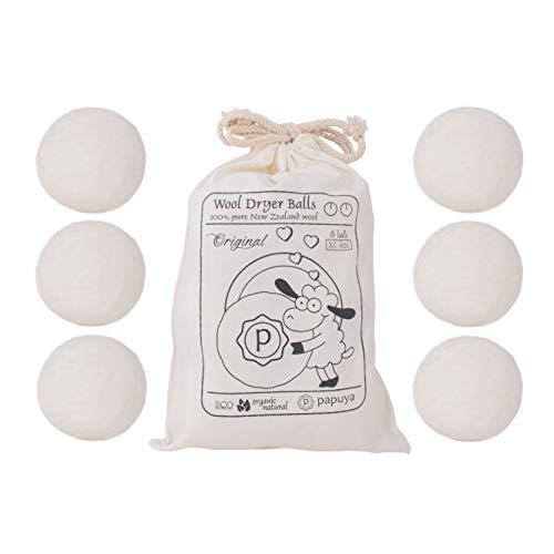 Juego de Bolas para Secadora, Ovillo XL de Lana ecológica, suavizante Natural, perfumador de Ropa hipoalergénico para Pieles sensibles, 1000 usos A+++ + quitapelusas de Animales domésticos