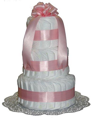 Klassische Windeltorte - rosa für Mädchen - Geschenk zur Geburt & Taufe - Windelpyramide - 3 Stöckig