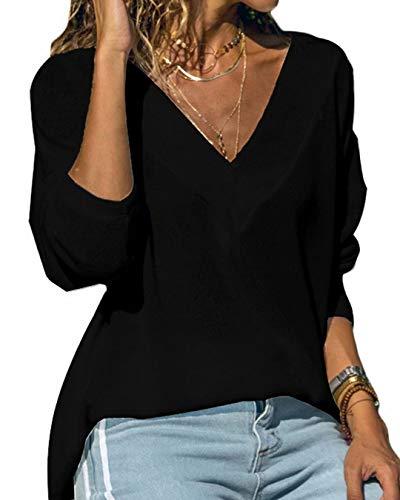Hiistandd Damen Shirt V-Ausschnitt Tops Casual Langarmshirt Gestrickt Einfarbig Oberteile (Schwarz, S)