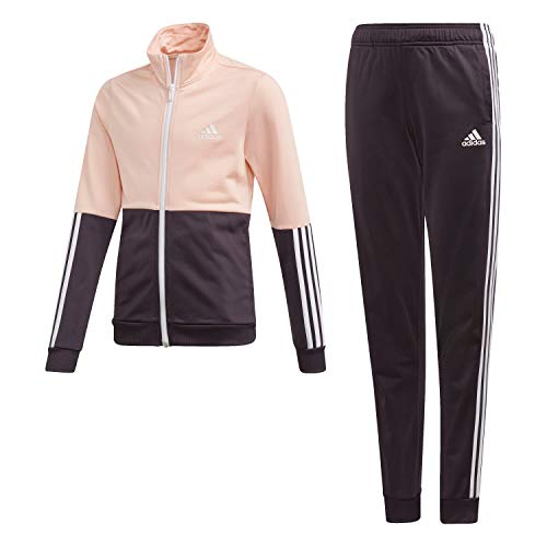 adidas Mädchen Trainingsanzug Polyester Tracksuit Haze Coral/Noble Purple/White 128