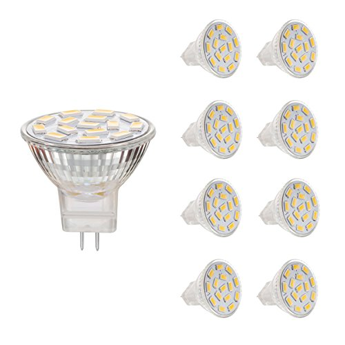 AHEVO 3.5 W MR11 GU4.0 LED-Leuchtmittel, entspricht 25-35 W Halogenlampen, GU4.0 Sockel, 12 V, 350 lm, 120°Spotstrahler, warmweiß, Einbauleuchte, 3000 K, 8 Stück