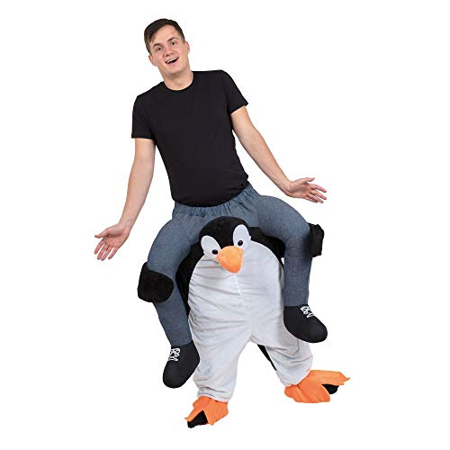 Bristol Novelty - Disfraz ridículo enterizo de Pingüino con persona a hombros