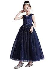 [Kayiyasu]子供ドレス ロングドレス ピアノ 女の子 パーティー 刺繍 発表会 結婚式 フォーマル ジュニア フラワーガール ガールズ 誕生日 入園式 七五三 卒業式 120-170 3-15歳に適合