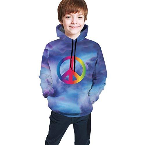 Rainbow Peace-Zeichen Pride Athletic Sweatshirts Pullover Trainingsanzüge für Teenager Mädchen Jungen Gr. 9 - 11 Jahre, mehrfarbig