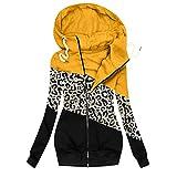 Pianshanzi Sweat à capuche pour femme - Grande taille - Fermeture éclair - T-shirt à manches longues - Automne et hiver - Pull à capuche - Pull d'extérieur, jaune, XL