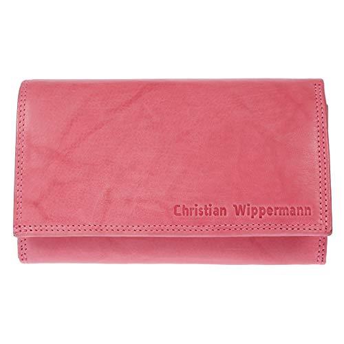 Christian Wippermann Damen Leder Geldbörse Geldbeutel mit TÜV Geprüftem RFID Schutz inklusive Geschenkbox (Rosa)