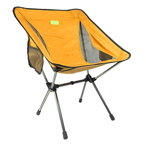 Aerlan Camping chair with side pockets,Portable folding chair, outdoor wild fishing chair-yellow,Portable folding chair, outdoor wild fishing chair-yellow