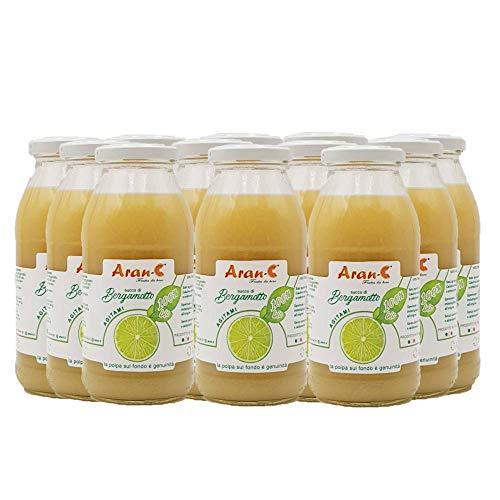 Spremuta di Bergamotto Calabrese Bio 100% Succo Puro Bevanda Senza Zuccheri Aggiunti Senza Solfiti Nè Conservanti (12 Bottiglie In Vetro da 500 ml)