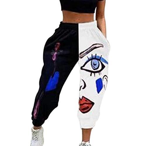 Vertvie Damen Jogginghose Sporthose Lang Yoga Hosen Freizeithose High Waist Lässige Trainingshose mit Mode Drucken Baggy Sweatpants für Frauen