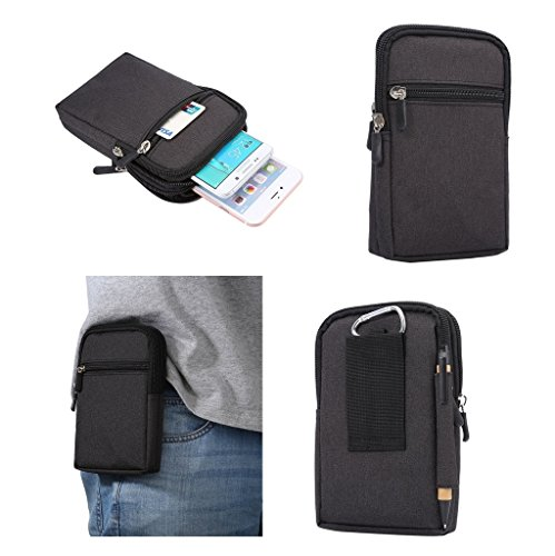 DFVmobile - Universal Multi-Functional Vertical Stripes Pouch Bag Case Zipper Closing Carabiner for Nokia Lumia 930 - Black (17 x 10.5 cm)