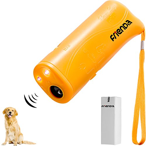 Frienda LED Ultrasonic Dog Repeller and Trainer Device 3 in 1 Anti Barking Stop Bark Handheld Dog Training Device (Yellow)