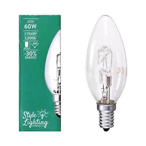 10x stile illuminazione alogena 42W = 60W lampadine a candela SES E14a risparmio energetico dimmerabile