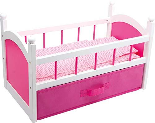 Small Foot by Legler houten poppenbed, geschikt vanaf 3 jaar, met bijpassend beddengoed en matras voor de lievelingspop, met opbergruimte onder het bed