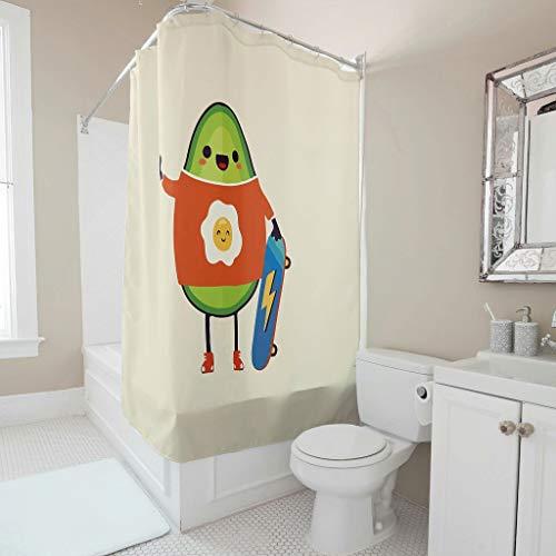 Zhcon Muster Duschvorhänge Wasserdicht Farbfest Shower Curtain Bad Vorhang mit lebendigen Farben B x H:120 x 200 cm white4 150x200cm