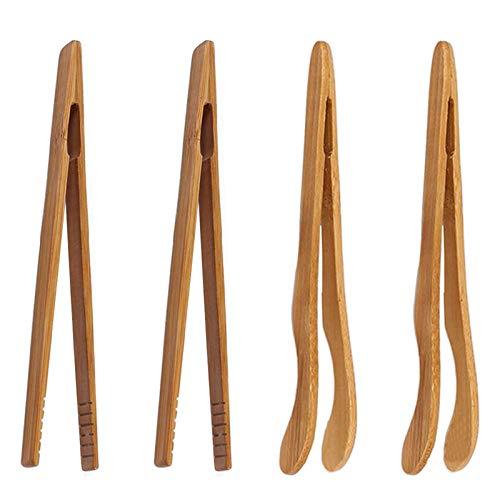 4 unids/conjunto Alicates de alimentos Pinzas de cocina Pan de té Suministros de barbacoa Fry Resistente al calor Copa Estilo chino Bamboo Steak Clips (Size : Straight 17.8cm/crooked 13.5cm)