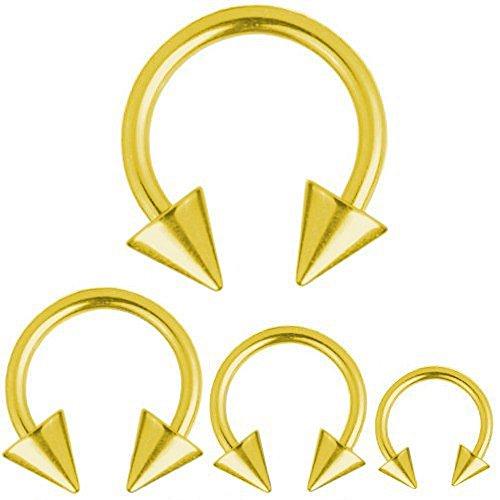 Piercing Barbell Circular de herradura 1,6 mm, chapados en oro | Diámetro 8-14 millimeter