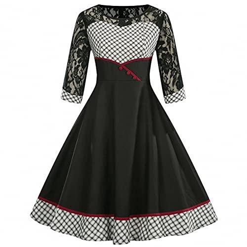 MWLSW Mini Vestido Vintage de Encaje Blanco y Negro con Estampado de Cuadros Escoceses para Mujer Vestido Retro de Cintura Alta con Mangas 3/4 de Encaje-M