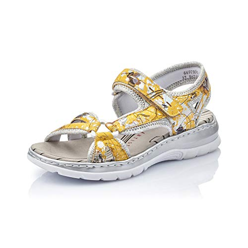 Rieker Damen Sandalen 66979, Frauen Trekking Sandalen, elegant Women\'s Woman Freizeit leger sommerschuh,Yellow-Multi/silverflower / 91,39 EU / 6 UK