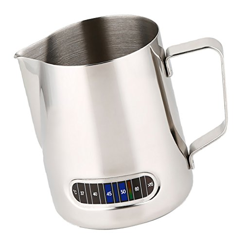 BAOBLADE Stainless Steel Milk Frothing Jug Espresso Coffee Cup Pitcher Barista Craft Coffee Latte Milk Frothing Jug Pot with Thermometer Inside