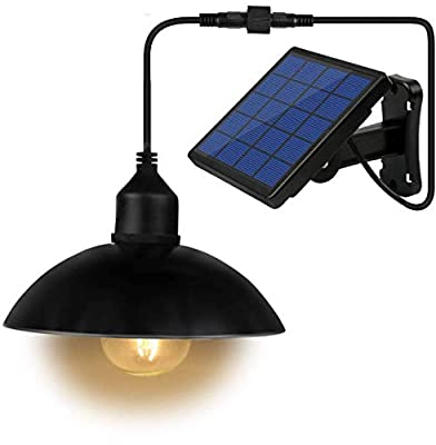 Solar Lights, LOZAYI Outdoor Solar Lights, IP65 Waterproof 16.4Ft Cord Outdoor Lights Black Mini Pendant Light LED Bulbs with Adjustable Solar Panel for Garden Patio Home Decorate-Warm Light