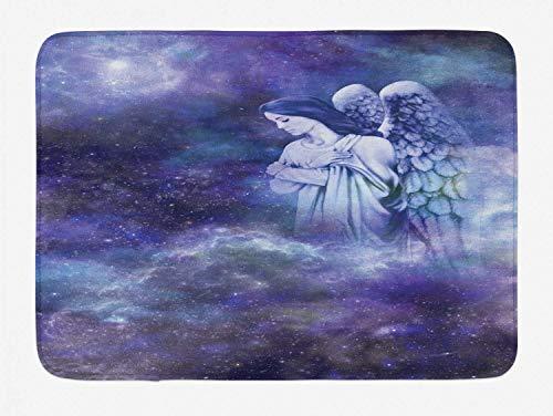 Alfombrilla de baño de ángel, mujer con alas de guardián mirando arriba sobre fondo de galaxia, felpa alfombrilla de decoración de baño con respaldo antideslizante, lavanda oscuro azul gris pastel vio