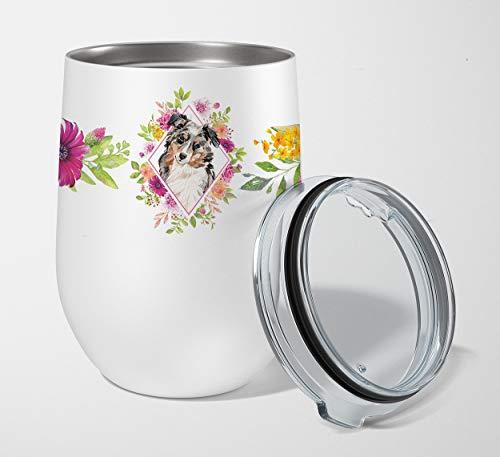 Caroline's Treasures Vaso de vino sin tallo, con aislamiento de viaje, CK4267TBL12, de acero inoxidable, diseño de pastor australiano, multicolor