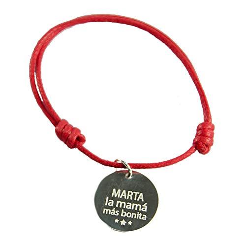 Calledelregalo Regalo Personalizado para Madres: Pulsera roja con Medalla de Plata Redonda 'La mamá más Bonita' Grabado con el Nombre o Texto Que tú Quieras