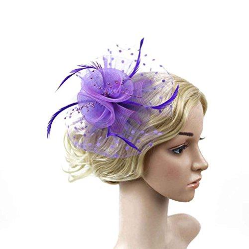 Bobury Femmes Fleur Plume Net Chapeau Mini Pince à Cheveux de Mariage Chapeau, Femmes Chapeau Plume, Plume pour fête de Mariage Banquet