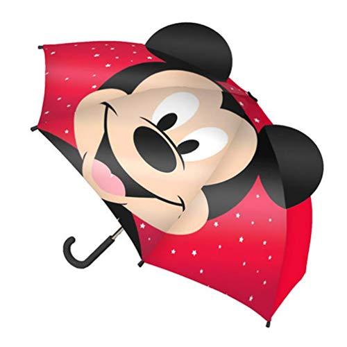 Accesorios lluvia mickey 2400000416 Paraguas Manual Pop-Up Mickey, RED, 62 x17 x17 cm Unisex niños