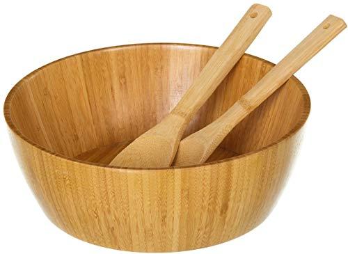 Saladier de table couette marron de bambou pour cuisine