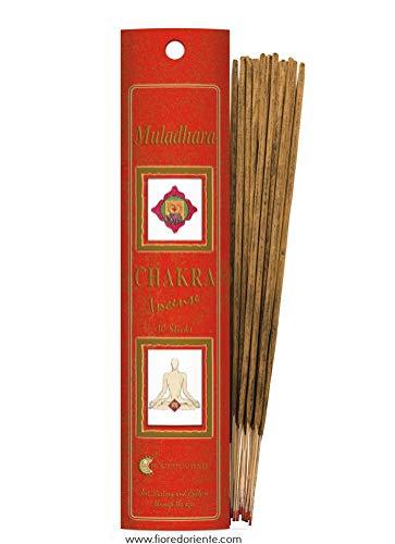Fiore D'Oriente 82730012 Muladhara Chakra Incenso Naturale 20 Sticks, Rosso